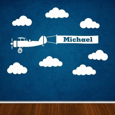 Otroška stenska nalepka - Letalo z imenom